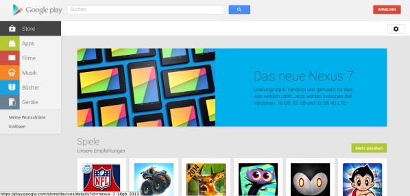 Google Play Store Startseite