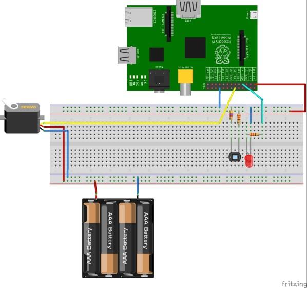 Waschmaschinen Sensor Raspberry Pi mit Servo-Steuerung
